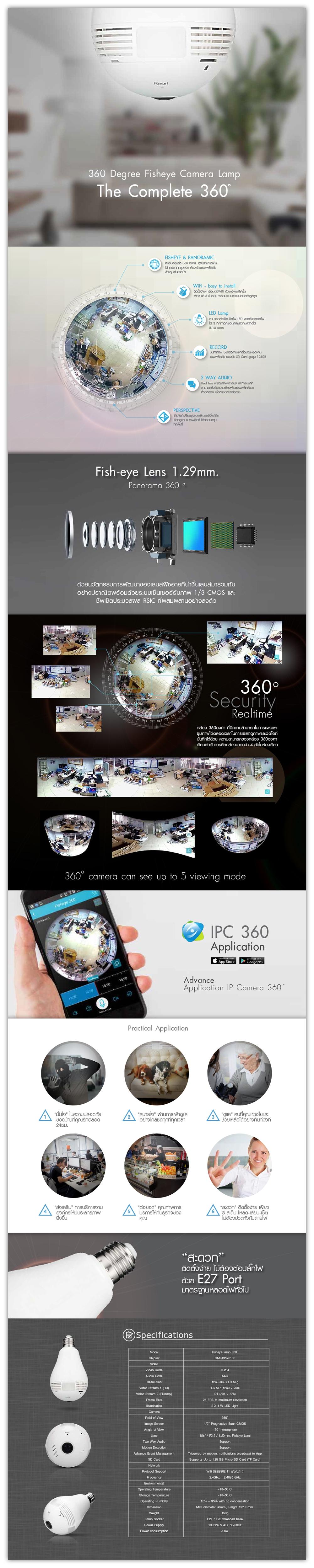 ABT SMART PANO, WiFi camera, cctv, FISHEYE, กล้องวงจรปิด, กล้องไวไฟ, ดูกล้องผ่านแอพบนมือถือ