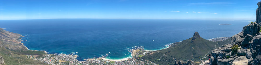 Panorama of Camps Bay and Lion's Head Mountain from Table Mountain