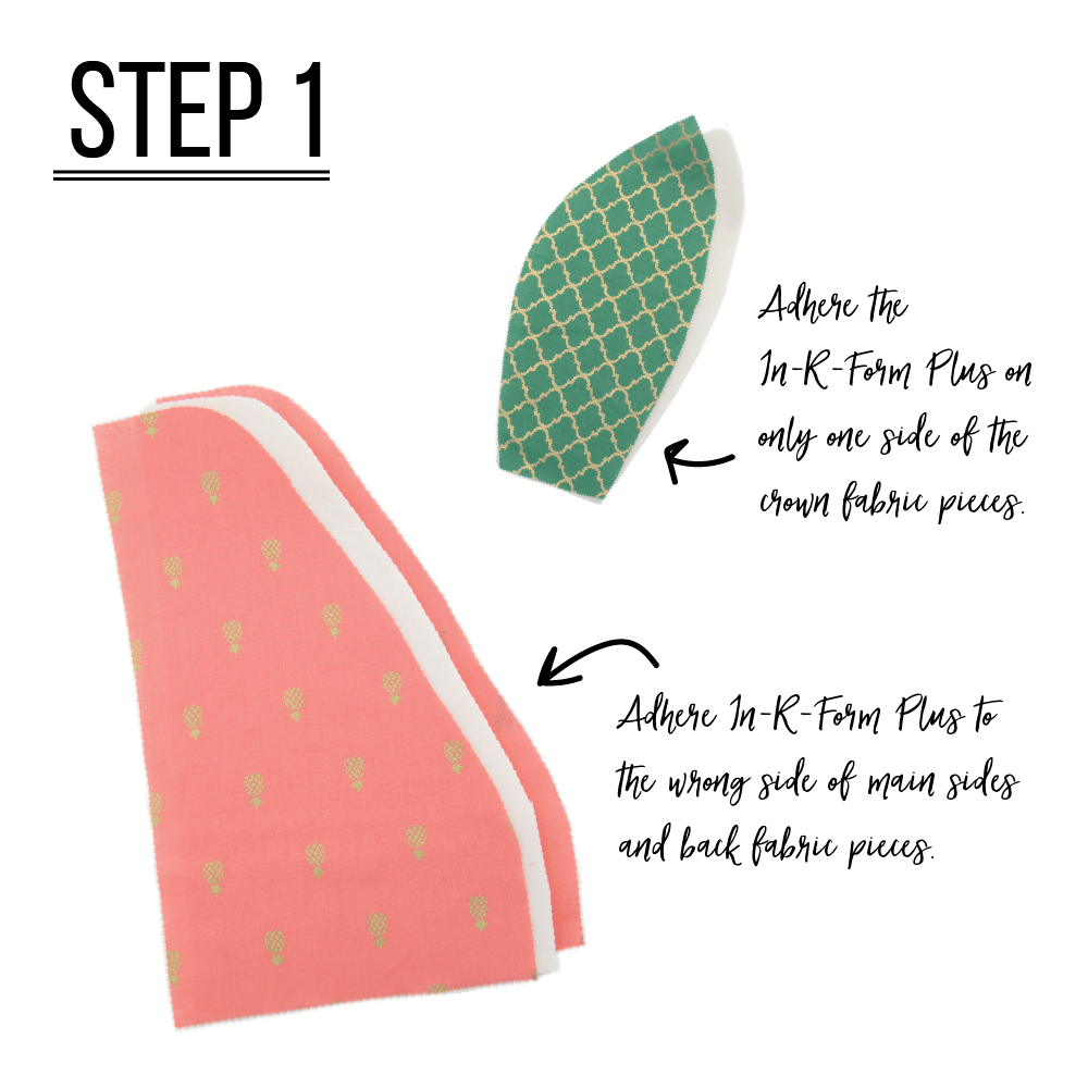Step 1: In-R-Form Plus Adhere In-R-Form Plus to wrong side of main sides and back fabric pieces. Repeat for the lining pieces.  The In-R-Form Plus should be completely covered on both sides by the main and lining fabrics. (To mimic the outside of a pineapple, quilt sides to form diamond shapes.)  Adhere the In-R-Form Plus on only one side of the crown fabric pieces.