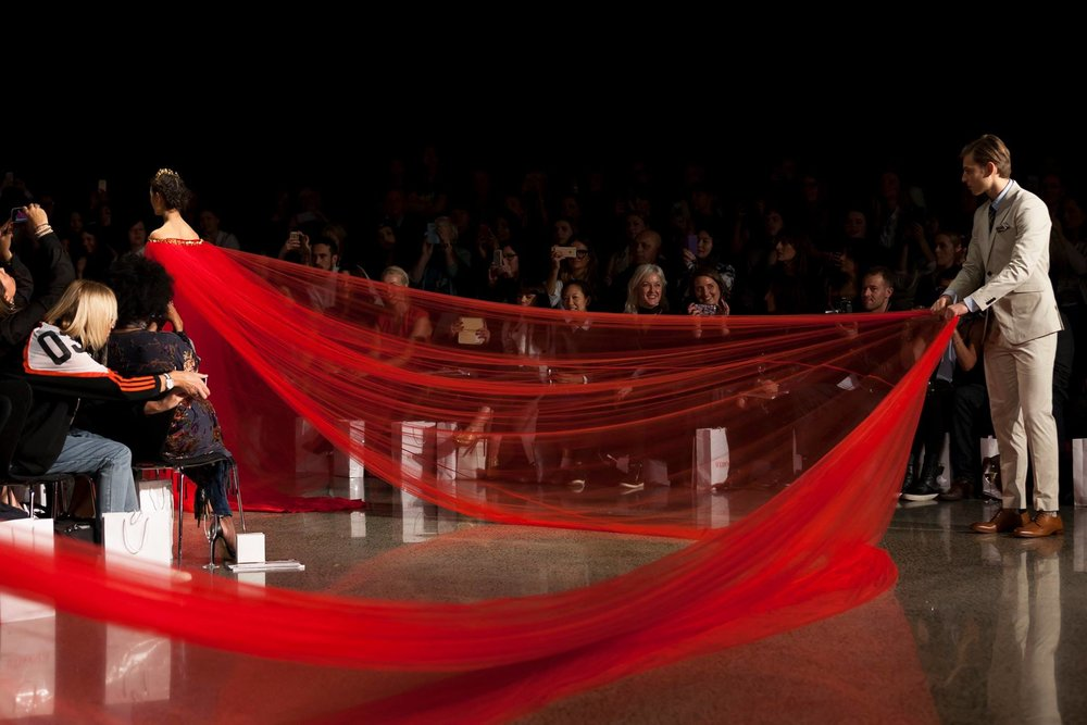 SCARLET GOWN - 22 metres long // Catwalk Record for the longest gown ever on a catwalk (As seen on the Daily Mail)