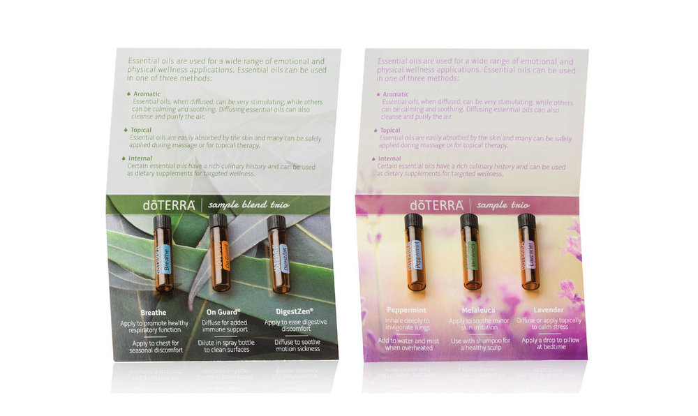 doTERRA sample packs are available to order in your back office under sales tools. There is a place to apply your own name label to the backs of each.