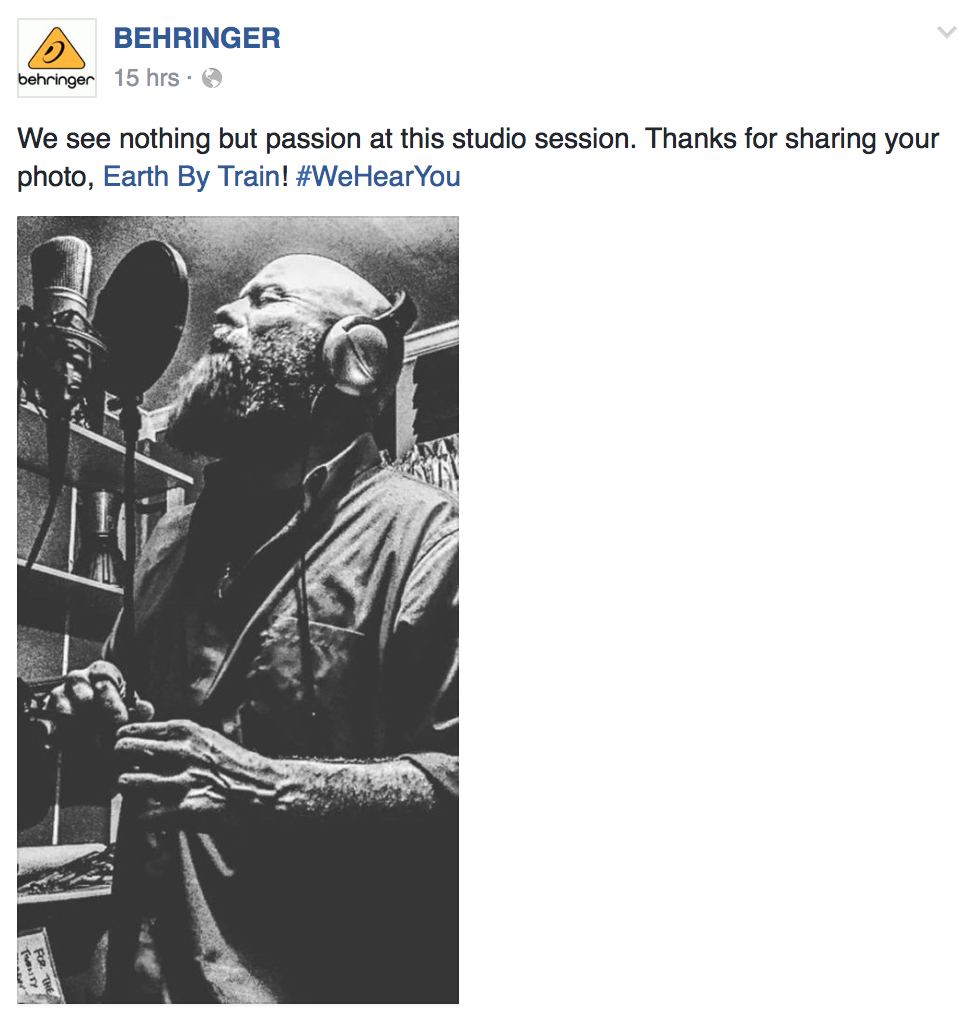 "We are ever astounded by the power of social media...this photo of Anthony Wayne was recently featured on  Behringer 's Facebook page. They have over 500,000 followers which totals a potential of more than  One Million Eyes  to witness this powerful pic!   The image captured as Anthony was recording vocal tracks for an upcoming single, ""Roll."" We know you are excited to hear new music from us at EARTH BY TRAIN and we are anxious to share it with you!  Photo: Sherri Jessee"