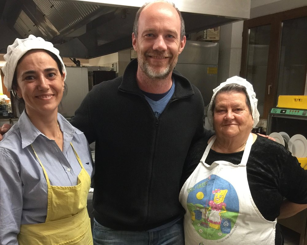 Chefs in the kitchen - Tim with Irma and 'Nonna'