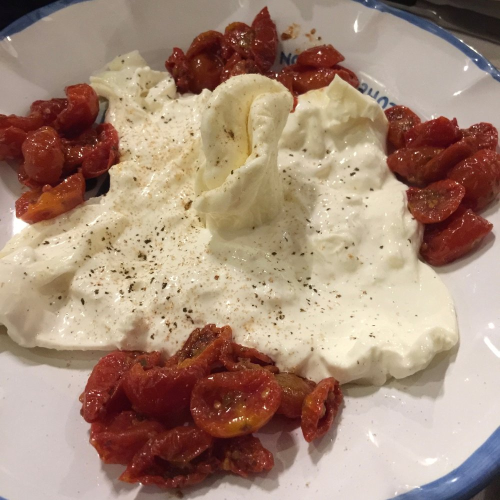 Burrata and tomatoes at Roscioli