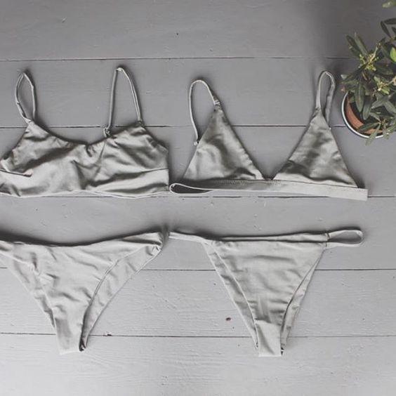 Shiny grey bikinis