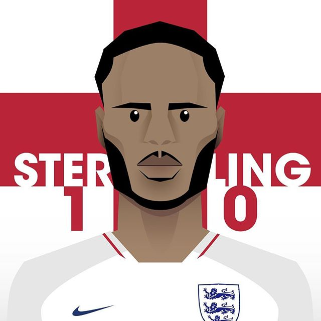 Raheem has been getting some criticism lately, but hopefully he turns up at the Croatia game with something to prove.  #engvscro #englandvscroatia #worldcup2018 #worldcupdesign #worldcuprussia #worldcupillustration