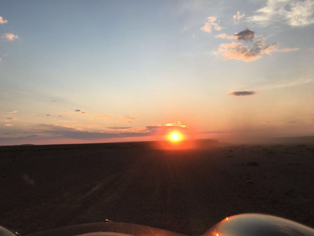 Our first sunset in the Gobi Desert. Driving into camp in the dark was one of Jill's fears, but we did it... many times.