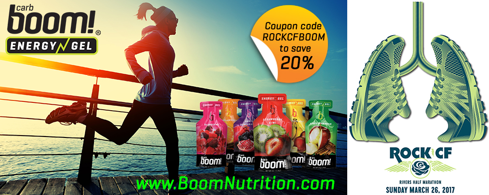 10% OF SALES WILL BE DONATED TO ROCK CF WHEN YOU USE THIS LINK FOR YOUR boom! NUTRITION.  Carb Boom! Energy Gels® are made with real fruit and have a high ratio (11:1) of complex carbs (maltodextrin) to simple sugars, superior taste, and no added sugars, and no artificial flavors, colors or sweeteners.