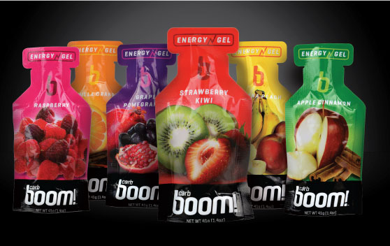 FUEL YOUR NEXT RUN OR RIDE WITH carb boom! ENERGY GELS AND HELP ROCK CF! - Click on the BUY BOOM HERE button to buy your gels and Rock CF will receive 10% from your purchase!Great tasting, all natural fruit based, no artificial colors, sweeteners, no added sugars, Gluten free and vegan friendly, 26g carbs - 3 g of sugars, highest carbs - lowest sugars.