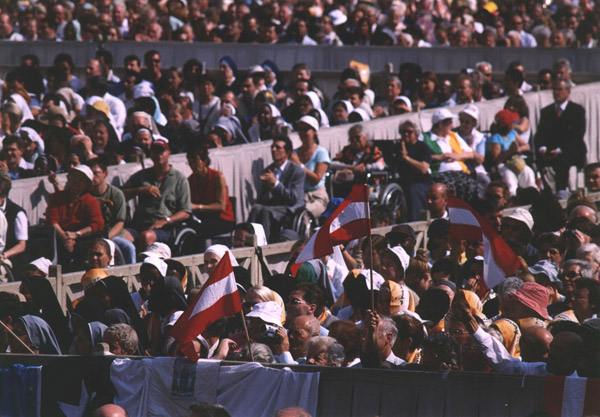 Throughout the crowd, many Austrian flags could be seen.
