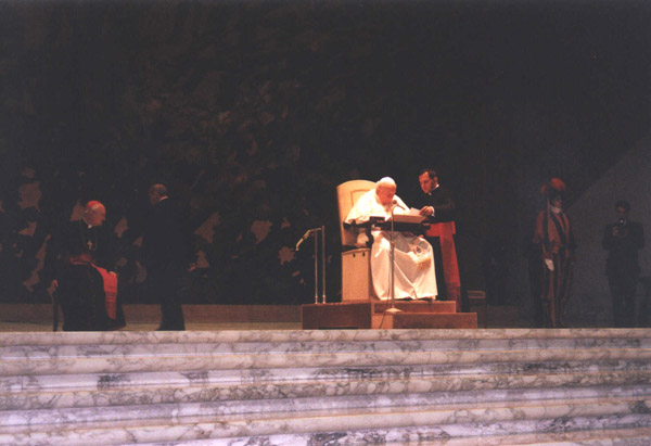 Pope John Paul II greets over 5,000 pilgrims from the five Beatification Causes.