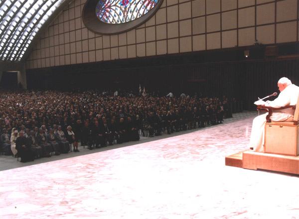 Pope John Paul II addresses the gathered pilgrims.
