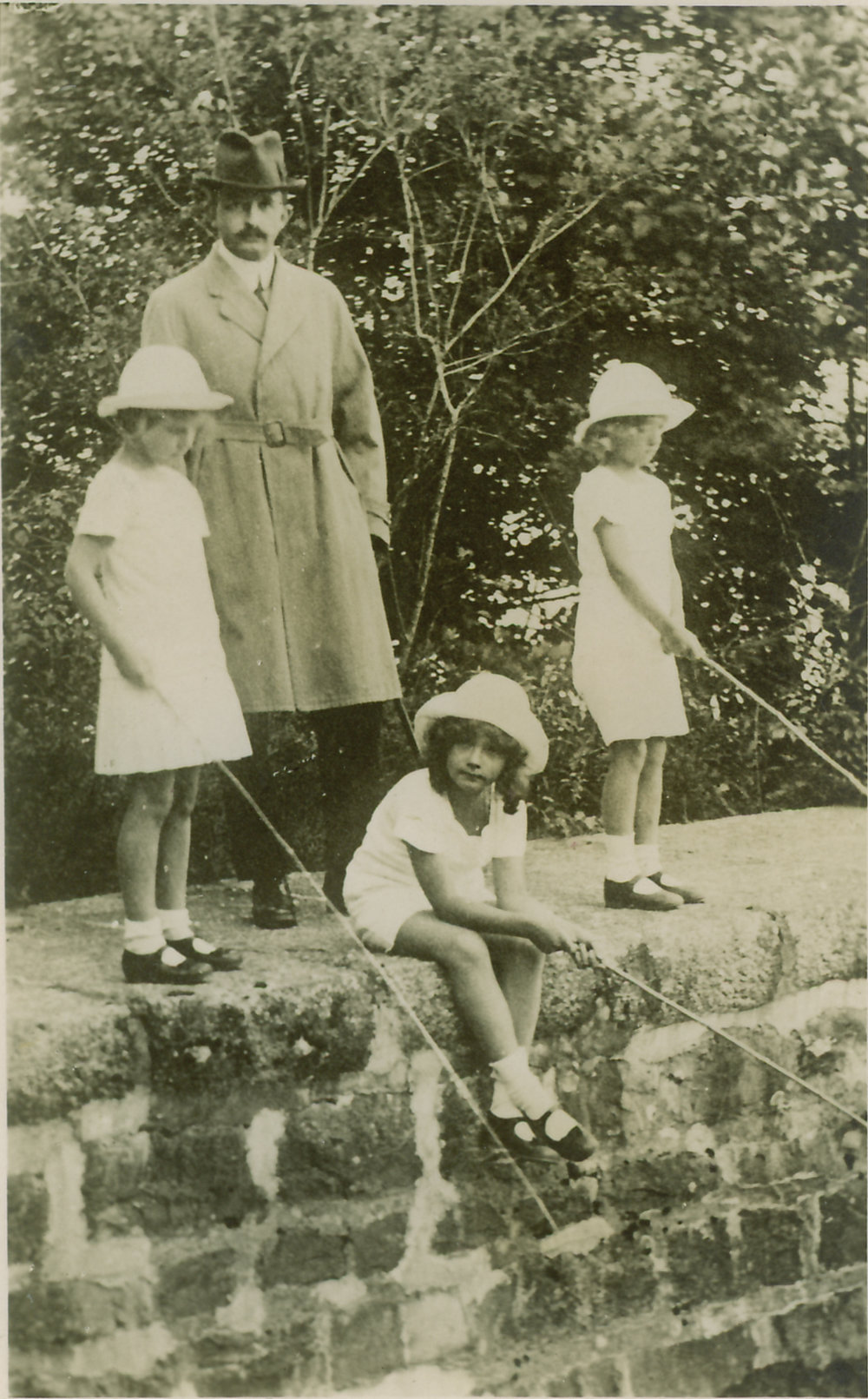 Emperor Karl fishing with three of his children during exile in Switzerland, ca. 1922