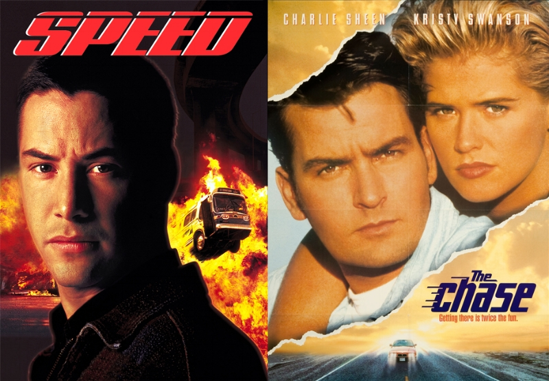 Speed - Keanu Reeves & Sandra Bullock, The Chase - Charlie Sheen & Kristy Swanson