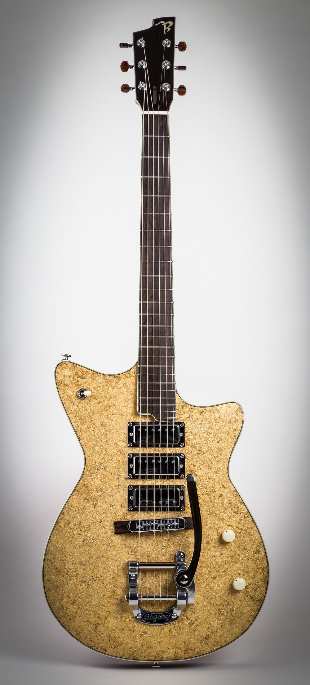 "7/11-G ""Vegas Showgirl"" in gold leaf with three pickups!"