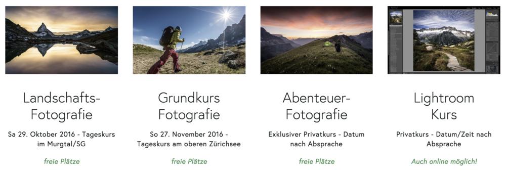 Foto Kurse - Landschaftsfotografie / Grundkurs Fotografie / Abenteuer Fotografie / Lightroom Kurs