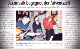 BESCHWINGTES KONZERT Weihnachtskonzert der etwas anderen Art in der ev. Kirche Schwalenberg (Shawn Grocott, Gabriela Koch und Wolf Meyer-Johanning)