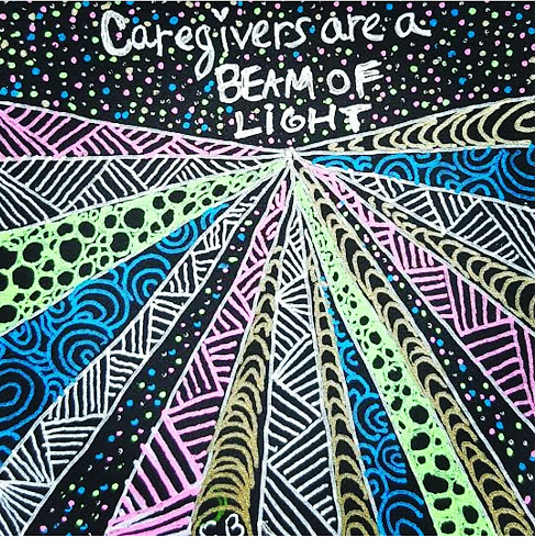 "Zentangle art- ""Caregivers Are a Beam of Light"" Learn more about her inspiring, uplifting message to caregivers and her new book, The Artistry of Caregiving: Letters to Inspire Your Caregiver Journey, at her website: www.SanGenWoman.com"