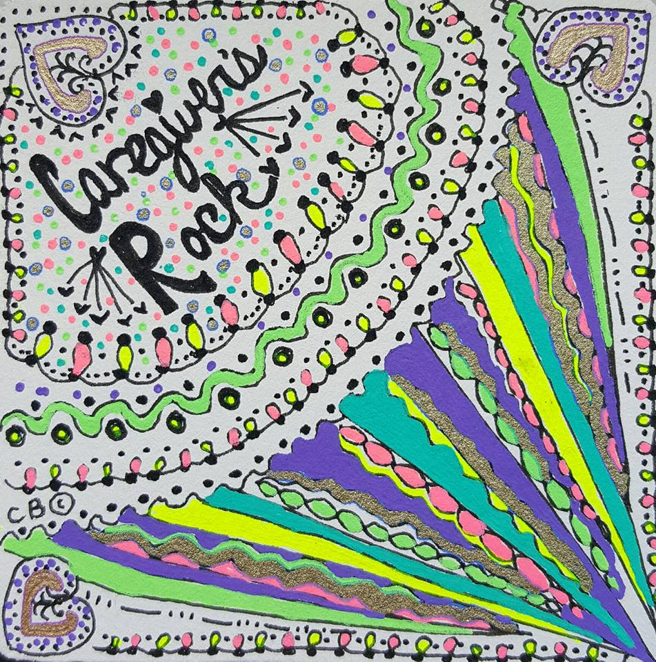 "Zentangle art ""Caregivers Rock!"" Learn more about her inspiring, uplifting message to caregivers and her new book, The Artistry of Caregiving: Letters to Inspire Your Caregiver Journey, at her website: www.SanGenWoman.com"