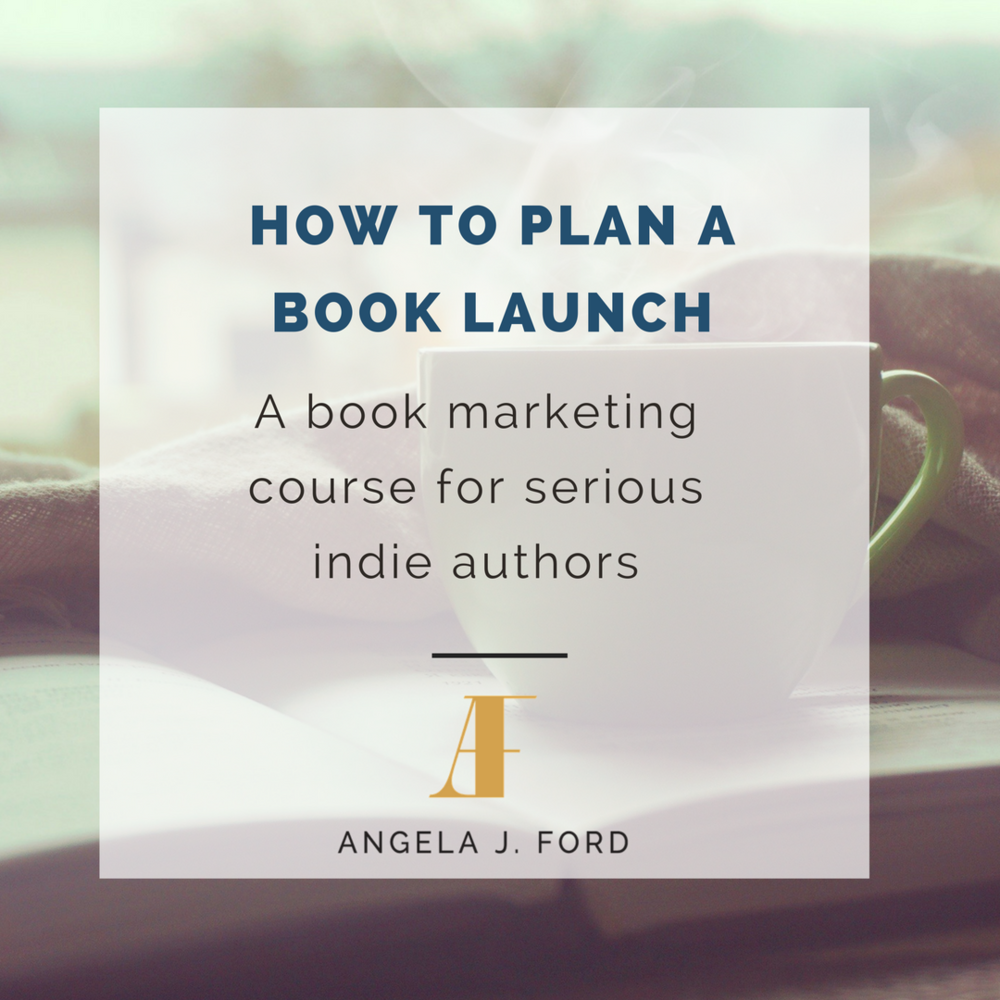 How to Plan a Book Launch course by Angela J. Ford- an essential for indie authors! Follow the link to get started: http://angelajford.teachable.com/?affcode=54455_rhxtblir