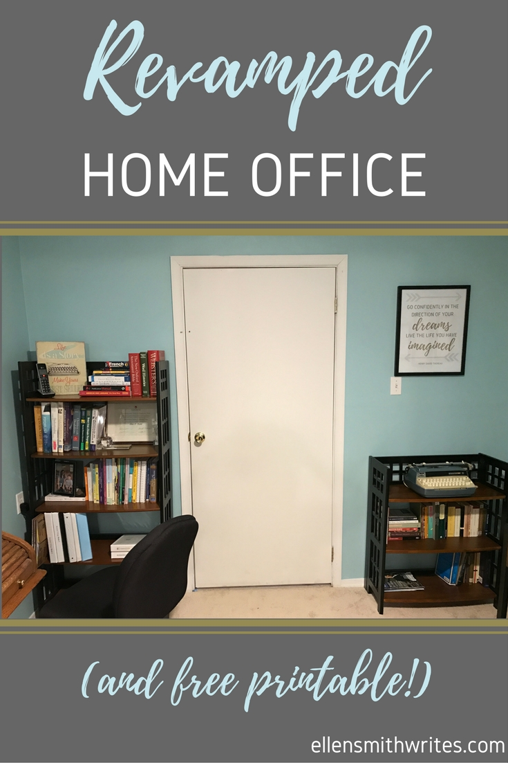 Revamped Home Office (and FREE printable!) | ellensmithwrites.com Blue, gold, and silver home office set up for a freelancer and fiction author with a standing desk, inspiration boards, plenty of bookcases, and a FREE downloadable poster