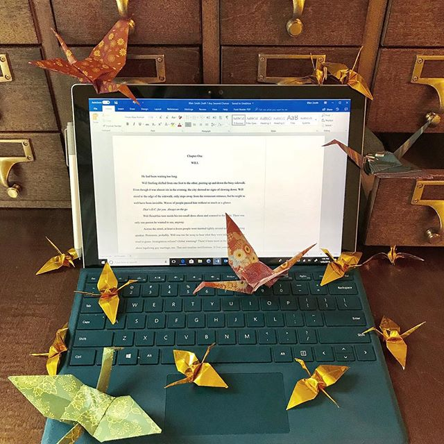 On the last leg of revisions for Book 2 of the #timewreckertrilogy . I'd love to tell you I'm past my #writersblock but I have a whole flock of #origami cranes that say otherwise. 😂 #writerslife  #twitter