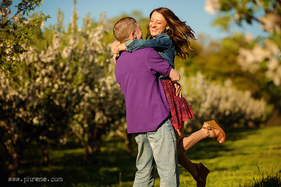 Apple blossom engagement photography at sunset