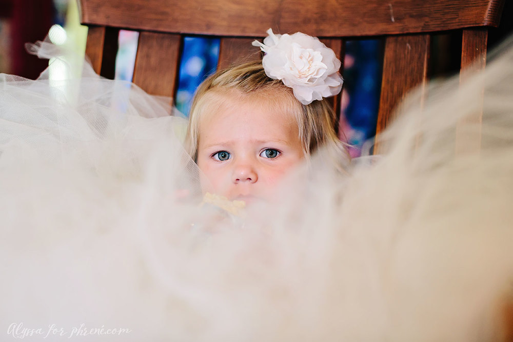 Flower girl problems include eating a Rice Krispie in a poofy dress