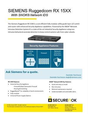 SIEMENS Ruggedcom RX 15XX With SNOK®Network IDS