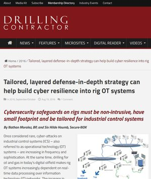 Taylored, layered defence-in-depth strategy can help build cyber resilience into rig OT systems