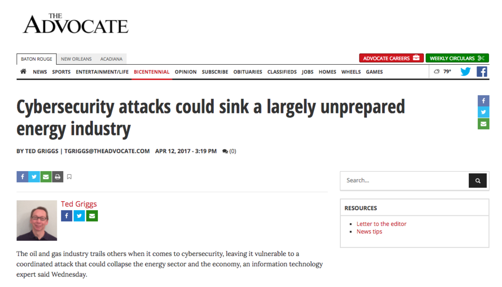 The Advocate: Cybersecurity attacks could sink a largely unprepared energy industry