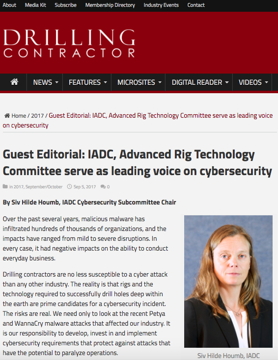 Guest Editorial: IADC, Advanced Rig Technology Committee serve as leading voice on cybersecurity