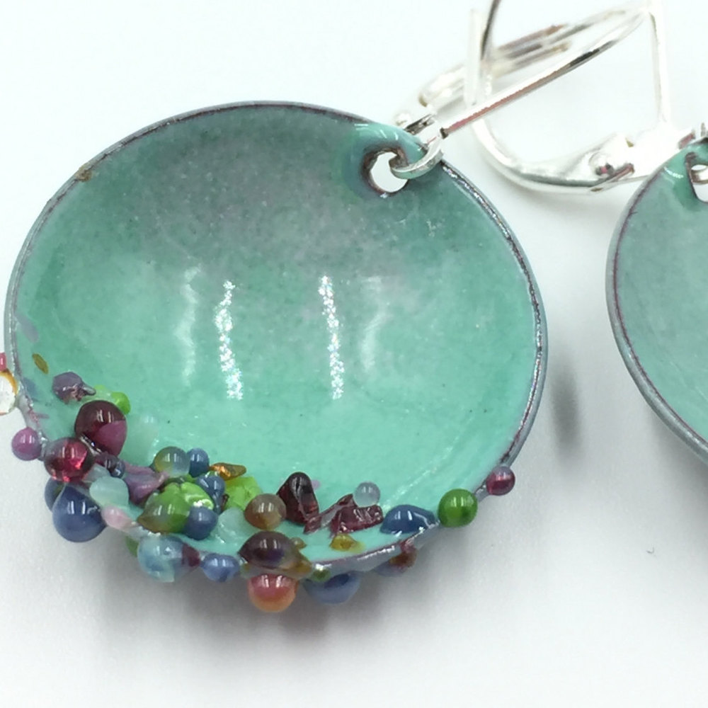 Aqua Enamel Cupped drop earrings with glass candy accents on lever ...