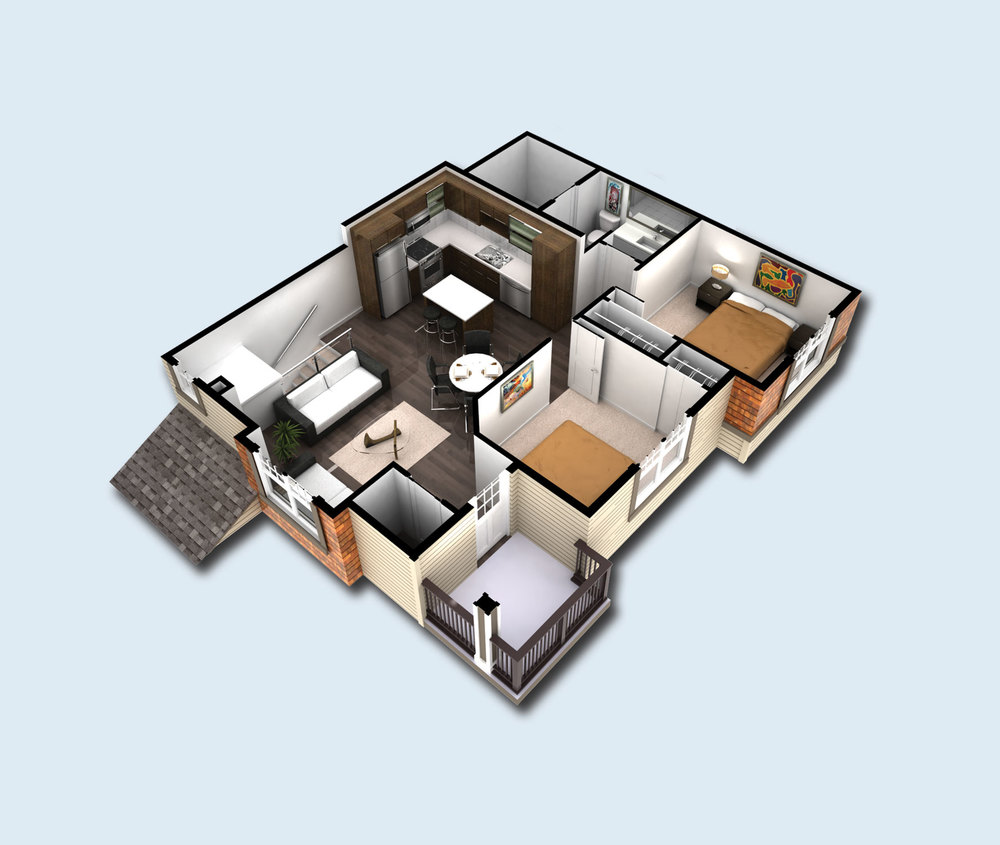 Plan B - Loft unit. | Living: 953 SQFT | Balcony: 56 SQFT