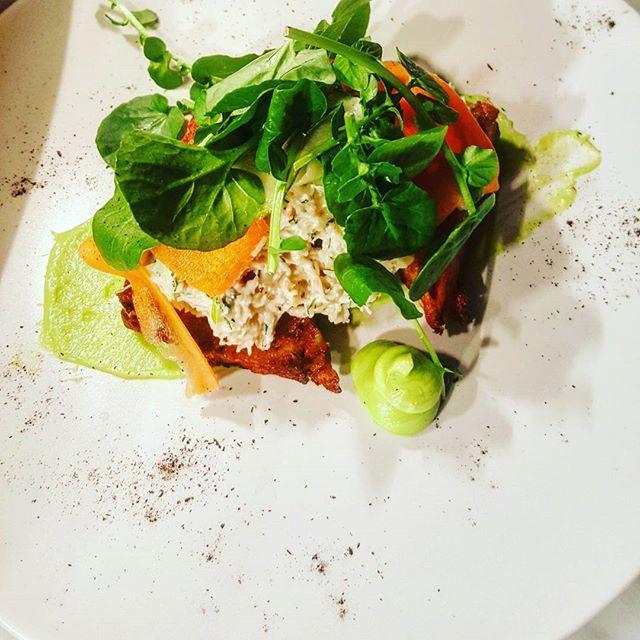 Spring menu lookin' sexy...Dressed Kilkeel Crab - avacado mousse, potato hash, house pickles. #Benny #TheCrabMaster #lovindublin #seapointrestaurant #hashtag