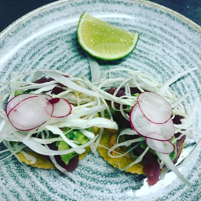 Yellow Finn Tuna Tostadas by our guest chef Eamon #lovindublin #fish #mexican #tuna #restaurant #dublin