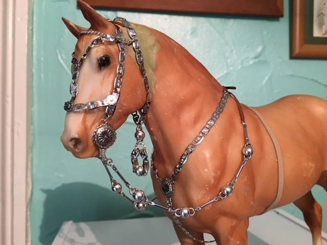 "Jane Varin: Jane says ""My first (and last!) Criollo war bridle - finished! I did this in one day, as I had to wait three weeks for all of my supplies to arrive and I think I would have missed the deadline if I hadn't done it today."""