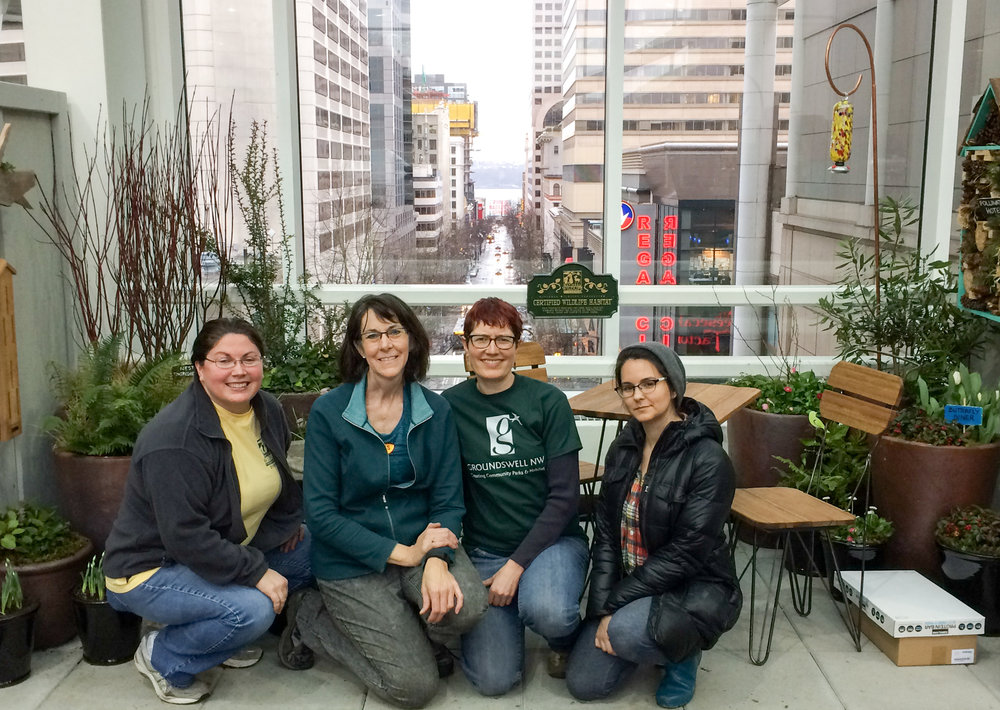 "Courtney, Jan, Dawn & Rachel at the end of ""set up day"", NW Flower & Garden Show. Set up volunteers not pictured: Kaitlin, Mark and Daniel. Thank-you!"