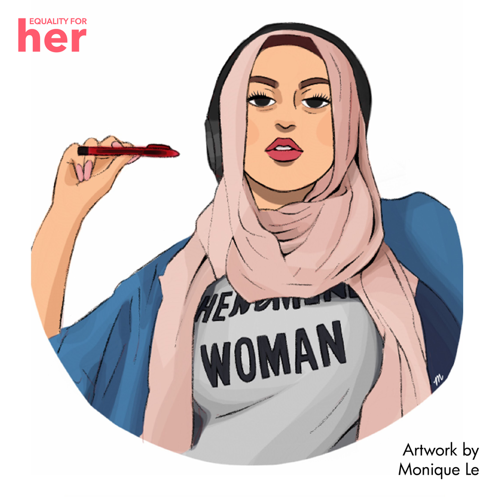 Amani Al-Khatahtbeh as illustrated by Monique Le for Modern HERstory