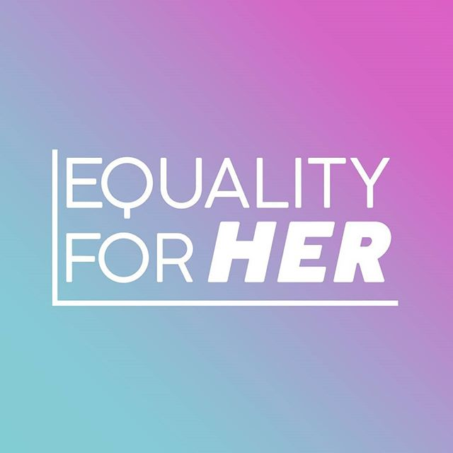 We are LIVING for our new Equality for HER logo designed by our amazing new teammember @_beautifullyiesha_!! 💜💙 This new logo represents our continued commitment to women and nonbinary people 💙💜