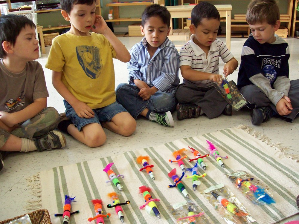 Children learning to build toys at Kaban Montessori in Mississauga.