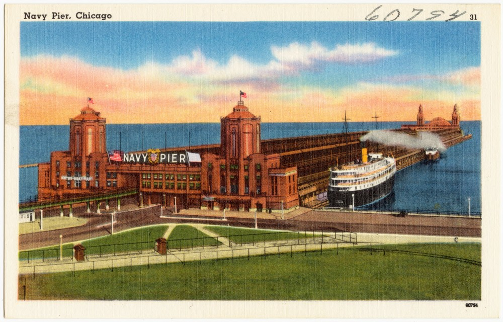Postcard of Navy Pier, circa 1930-45