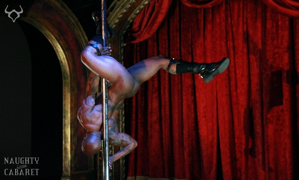 Pole dancer at the Naughty Little Cabaret