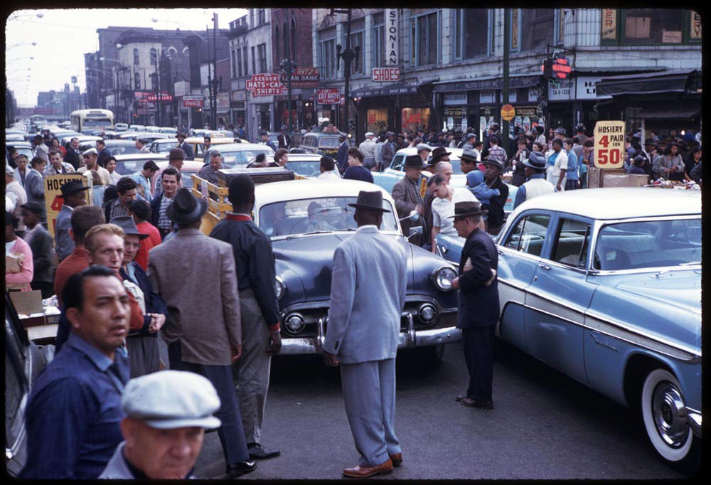 Traffic snarl on Halsted near Maxwell Street, 1958.
