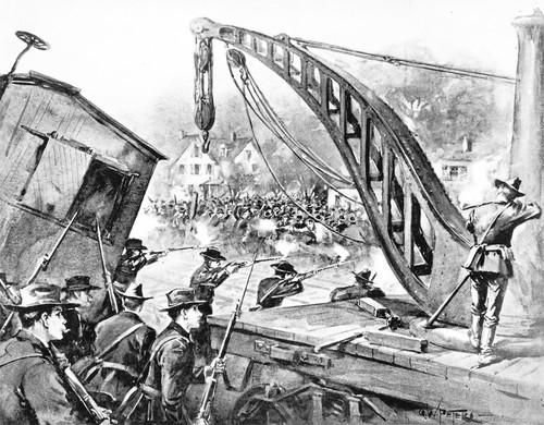 Drawing of federal troops breaking up Pullman Strike, 1894