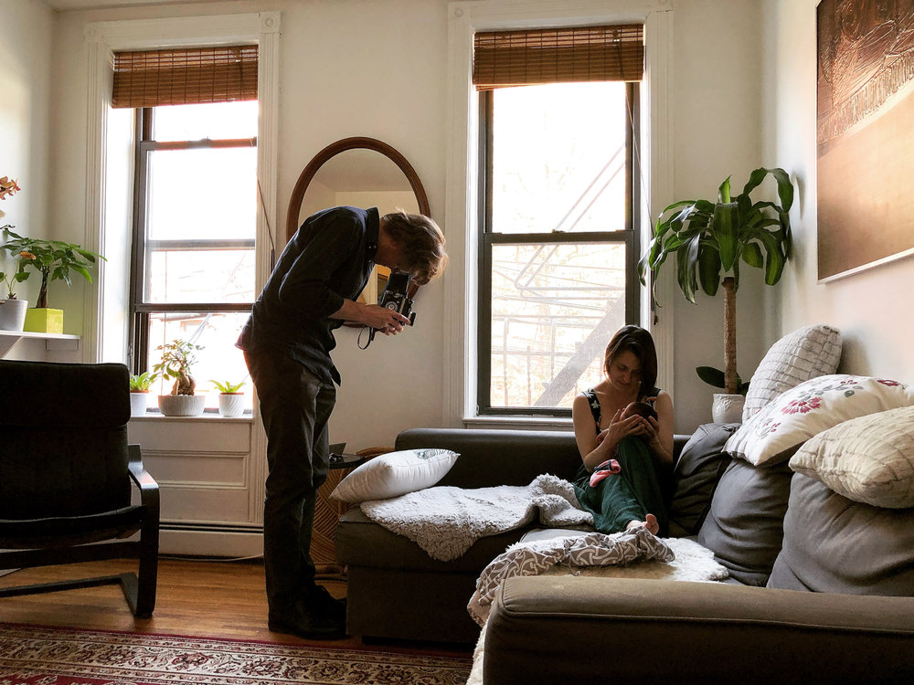 - Photographing mother of two weeks with her newborn daughter with 1960's Rolleiflex 2.8F