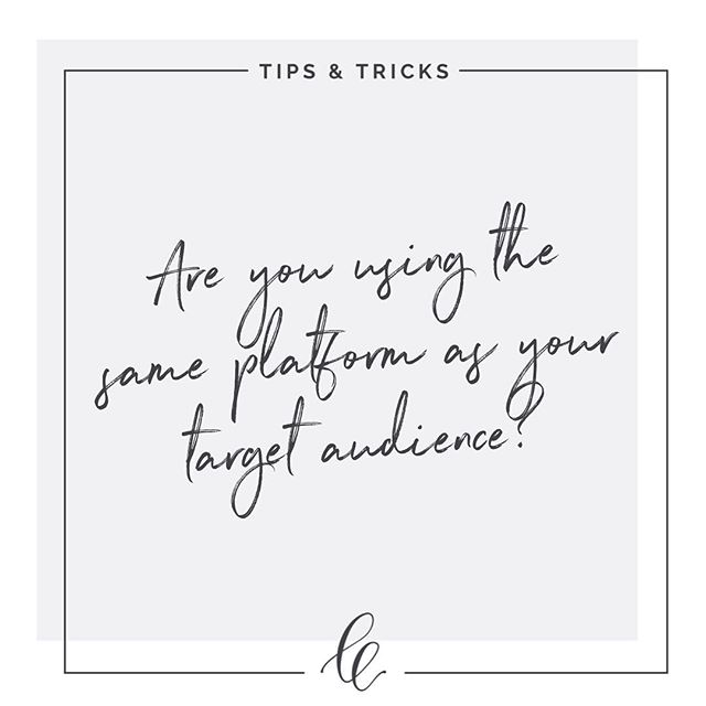 It may seem like an obvious point to make, but often I find that (new) clients aren't on the right platform for their audience + their needs. • This is crucial because you'd hate to wasting valuable time putting your efforts into a platform, only to be getting little to no response because your target clientele isn't there. Do some research, find out where your audience hangs out and then go join them. • TIP: Talk to your people, provide helpful information, engage on a genuine level and be relatable! • TELL ME: Where does your ideal client hang out? Do you know? Pop a 🙋♀️ in the comments if you need some help or have any questions regarding where to find your people!