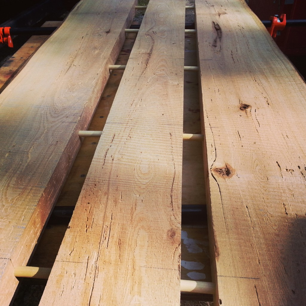 """Joining 2"""" thick planks for standing desktop"""