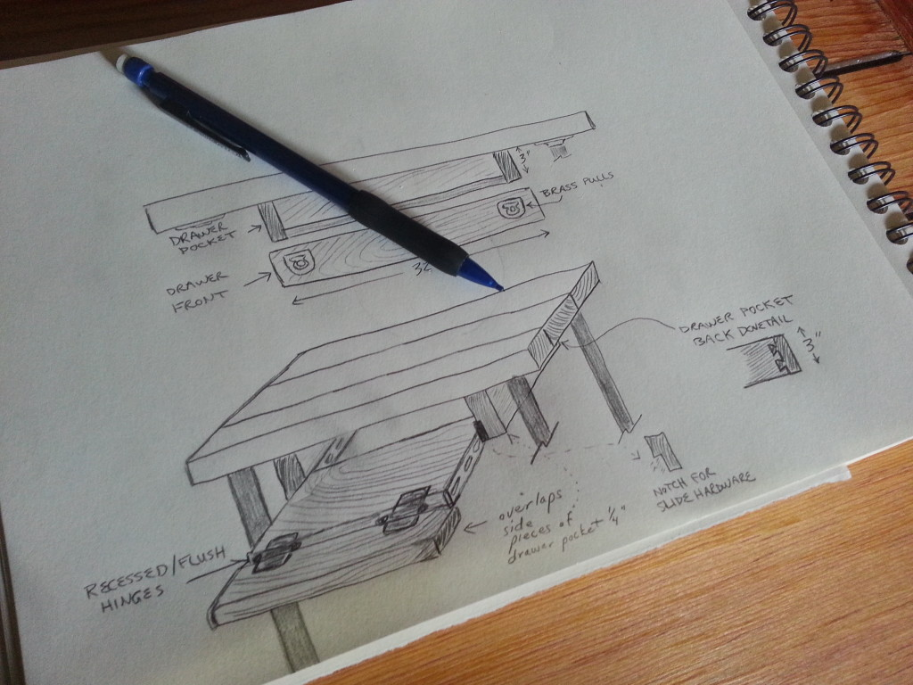 Rough sketch for keyboard drawer