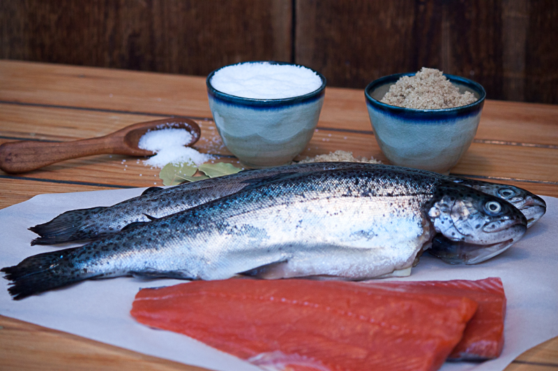 Wild caught Sockeye Salmon, freshwater Trout and brining ingredients.